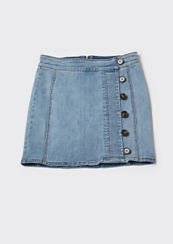 Medium Wash Button Denim Mini Skirt