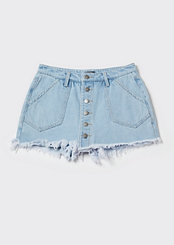Light Wash Denim Button Front Skort