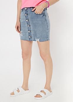 Medium Wash Raw Cut Button Down Mini Skirt