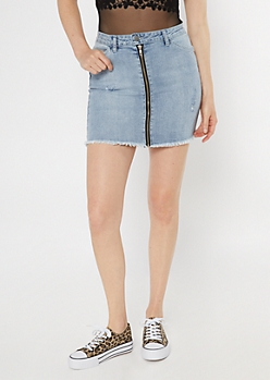Medium Wash Zipper Front Mini Skirt