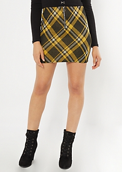 Yellow Plaid Print Ring Skirt