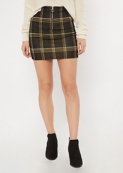 Black Plaid Print Ring Skirt