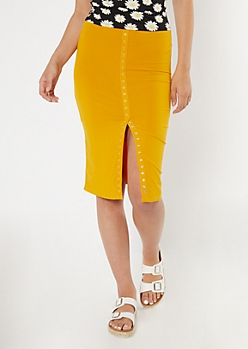 Yellow Knit Snap Front Midi Skirt
