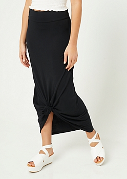 Black Fold Over Band Maxi Skirt