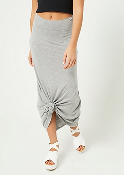 Heather Gray Fold Over Band Maxi Skirt