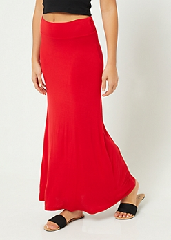 Red Fold Over Band Maxi Skirt