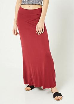 Burgundy Fold Over Band Maxi Skirt