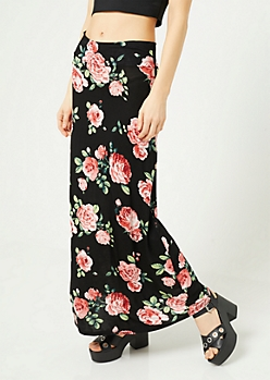 Black Floral Print Fold Over Band Maxi Skirt