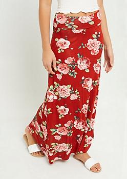 Burnt Orange Floral Print Fold Over Band Maxi Skirt