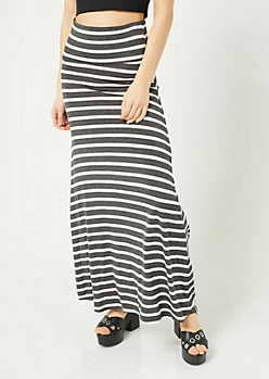 Charcoal Gray Striped Pattern Fold Over Band Skirt