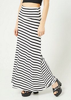 White Striped Pattern Fold Over Band Skirt