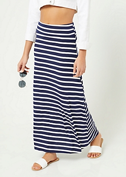 Navy Striped Pattern Fold Over Band Skirt