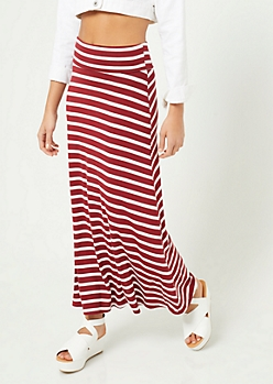 Burgundy Striped Pattern Fold Over Band Skirt