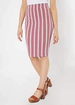 Dusty Mauve Striped Midi Skirt