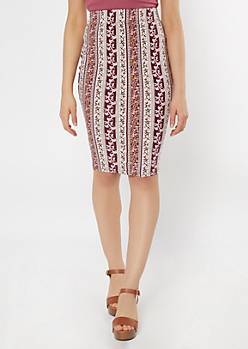 Burgundy Paisley Striped Midi Skirt