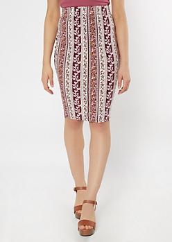 Burgundy Paisley Striped Midi Skirt
