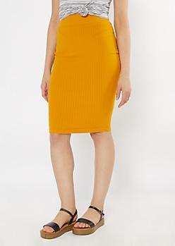 Mustard Ribbed Knit Midi Skirt