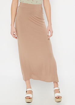 Taupe Super Soft Maxi Skirt