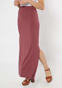 Dusty Mauve Side Slit Maxi Skirt