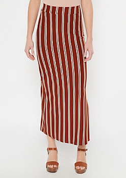Cognac Striped Super Soft Maxi Skirt