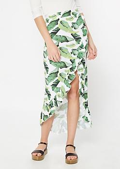 White Tropical Print Flounce Maxi Skirt