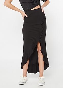 Black Flounce Maxi Skirt