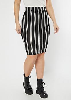 Black Striped Midi Skirt