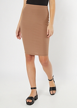 Taupe Ribbed Knit Stretch Midi Skirt