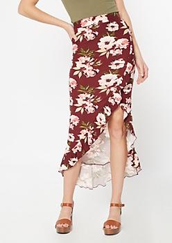Burgundy Floral Print Flounce Maxi Skirt