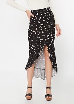 Black Ditsy Floral Print Flounce Maxi Skirt