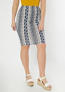 Blue Paisley Striped Midi Skirt