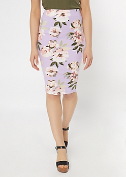 Lavender Floral Print Midi Skirt