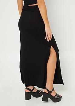 Black Side Slit Maxi Skirt