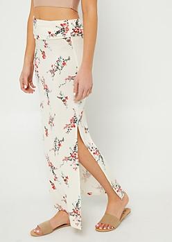Ivory Floral Print Side Slit Maxi Skirt