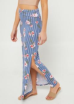 Blue Floral & Stripe Pattern Side Slit Maxi Skirt