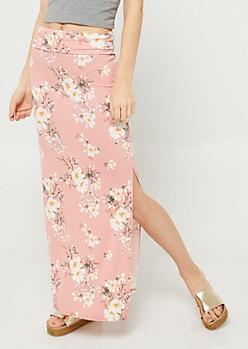 Pink Floral Print Side Slit Maxi Skirt
