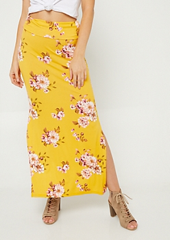 Yellow Floral Print Side Slit Maxi Skirt