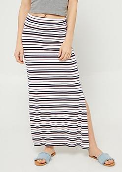 White Stripe Pattern Side Slit Maxi Skirt