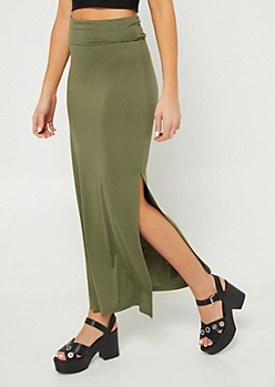 Olive Side Slit Maxi Skirt