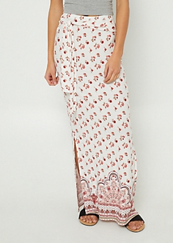 Ivory Floral Print Tie Front Maxi Skirt