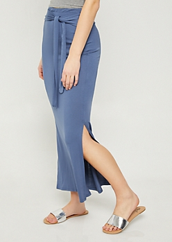 Blue Tie Front Maxi Skirt