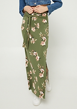 Olive Floral Print Tie Front Maxi Skirt