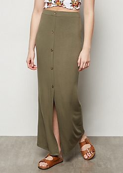 Olive Button Down Front Slit Maxi Skirt