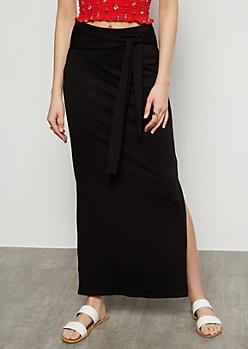 Black Super Soft Vented Maxi Skirt