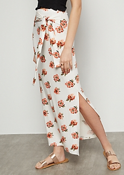 Ivory Floral Print Super Soft Vented Maxi Skirt