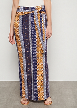 Blue Border Print Super Soft Vented Maxi Skirt
