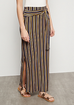 Navy Striped Super Soft Vented Maxi Skirt