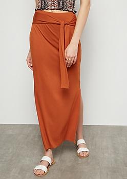 Burnt Orange Super Soft Vented Maxi Skirt