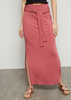 Pink Super Soft Vented Maxi Skirt