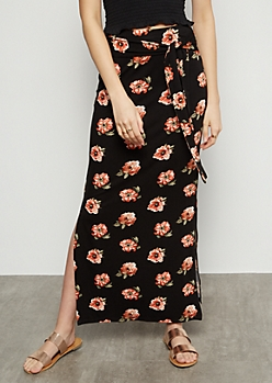 Black Floral Print Super Soft Vented Maxi Skirt